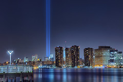 A Tribute in Light Memorial for Sept 11, 2013 (SunnyDazzled) Tags: park city nyc longexposure blue light newyork night pier memorial cityscape state memories 911 queens eastriver september11 beams longislandcity tributeinlight blend gantry personalstories takenin3layers oregonlovesnewyork