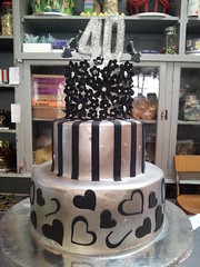 3-tier wicked chocolate with silver ganache icing, black fondant stripes, hearts, opart daisies and glitter 3D # 40th (Charly's Bakery) Tags: ladies 40th formal 50th
