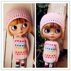 Baby Pink Angora Mohair with rainbow Polka dots Sweater set