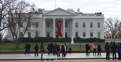 World AIDS Day - Red Ribbon on the White House Portico 33923
