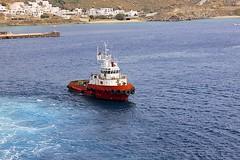Tugboat (oxfordblues84) Tags: cruise blue red sea white water greece tugboat cyclades mykonos ncl norwegianspirit aegeansea norwegiancruiseline norwegianspiritcruise