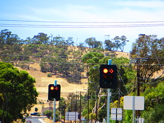 Main North Rd/Gordon Rd/Tiver Rd intersection - Evanston South (RS 1990) Tags: road new sign circle concrete lights closed december open traffic box country pedestrian junction led 300mm virgin signals button end adelaide barrier intersection arrow mast bikelane monday temporary southaustralia overhead bitumen aldridge 31st newly unit ats pedestal tactile artcraft a52 200mm blockage gawler nothroughroad braums 2013 signalised mainnorthrd gordonrd tiverrd evanstonsouth