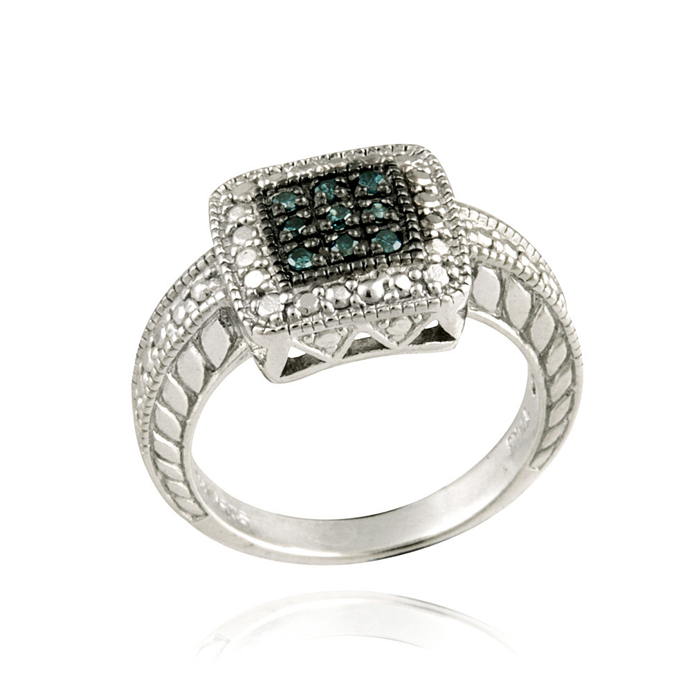 925 Silver 1 10ct Blue Diamond Square Band Ring Ebay