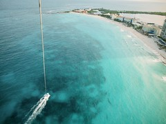 300 ft Up (scottboms) Tags: travel vacation beach mexico potd cancun reef parasailing