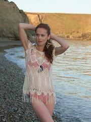 Kathleen Beach (kathleenwalshe) Tags: ireland sea irish woman beach beauty redhead swimsuit