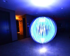 Blue Orb (NDSUG0GR33N) Tags: lighting blue light orange abstract color colors up night ball dark painting lights paint with time vibrant room air basement cyan indigo orb floating wave swing led expressive leds swirl lit swinging float waving orbs swirling complimentary