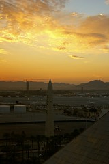 Morning From The Luxor (Farm Raised Cooking) Tags: morning las vegas mountains sunrise golden pyramid lasvegas nevada hours luxor