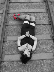 No Place Like Home (aulivjus) Tags: female vancouver model bc fishnet tina tied railroadtracks redheels