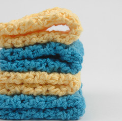 hotblueyellow1 (Reina Ferraris) Tags: blue usa yellow handmade crochet dishcloth cotton washcloth madeinusa hotblue pastelyellow