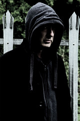 120 of 365 (Rob Johnstone) Tags: portrait selfportrait man fence project dark hoodie scary sinister hidden age aged 365 middle sly stark selfie