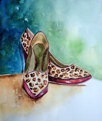 Leopard shoes / sapato de oncinha, by Vnia F. (Dona Mincia) Tags: art fashion watercolor painting paper arte pair moda study heel salto par pintura aquarela calado perua leopardshoe sapatodeoncinha
