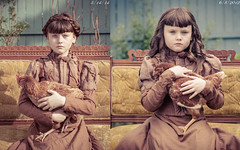 Two Years Difference (Kilkennycat) Tags: portrait chicken girl canon vintage hair children child dress victorian dressup pancake hen period eastlake braided settee 500d kilkennycat 40mm28 t1i ryanconners