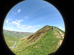 Looking Back on the Summit (CoasterMadMatt) Tags: uk greatbritain england fish eye english season walking lens landscape photography countryside spring scenery walks view photos unitedkingdom britain top derbyshire united great scenic may kingdom fisheye attachment photographs gb summit british tor mam viewpoint fisheyelens iphone mamtor castleton 2014 may2014 coastermadmatt coastermadmattphotography