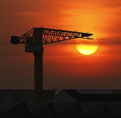 Sunset (Philippe POUVREAU) Tags: sunset sun france port soleil stx shipyard saintnazaire 2014 couchersoleil loireatlantique chantiersatlantique