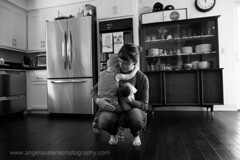 Super Mom (Angela Valerie Photography) Tags: family bw kitchen mom toddler babies lifestyle newborn reallife
