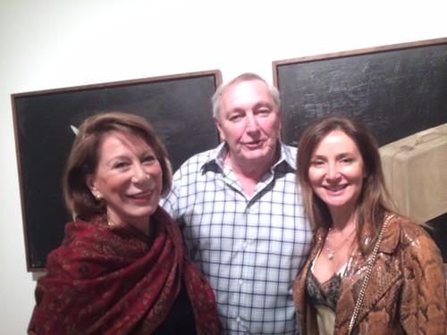 Dora Valdes-Fauli with collector Dr. Fernando Alvarez and Roberta Tazzini at Snitzer's