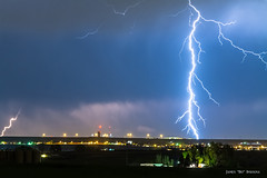 Night Strike (Striking Photography by Bo Insogna) Tags: city blue light sky cloud storm nature rain weather electric skyline night dark lights colorado energy cityscape power view flash dramatic bolt electricity strike thunderstorm lightning lightening electrical thunder climate extremeweather thunderbolt severethunderstorms jamesinsogna