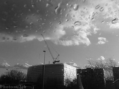 Constructed rain drops. (photomi7ch) Tags: winter streets monochrome rain landscape droplets phone lincoln cran photomi7ch