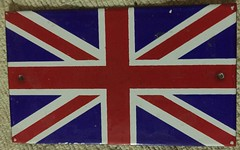 BRITISH UNION JACK FLAG, PORCELAIN RADIATOR or BUMPER MOUNT 1940'S (woody1778a) Tags: uk vintage jack automobile europe unitedkingdom britain flag union woody 1940s topper mycollection autotags myhobby woody1778a