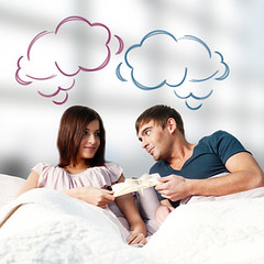 Closeup portrait of adult couple lying on their bed at their apa (travelyahootw) Tags: awake balloon banking beautiful bed bedding bedroom birthday blank buying car card care copyspace couple dreaming estate family female fun future gift girl gives greeting happiness happy holding home house journey lifestyle linen love lying mortgage new people real realty relaxing resting room smile trip vacation valentine white woman young
