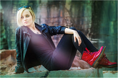 Little Red Riding Boot (Singflow) Tags: red portrait black girl leather female hair lens boot glasses outdoor young jacket blond short flare marble quarry singflow