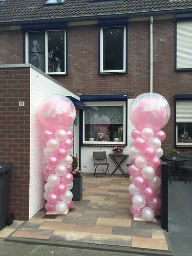 Ballonpilaar Breed Rond Roze Wit Love Doves