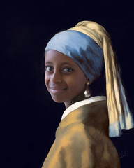 "Ayana as ""The Girl with the Pearl Earring (Lady Caroline Artist) Tags: blue girl smile dutch yellow youth scarf painting artwork artist peace digitalart earring canvas handpainted classical vermeer gaze acrylicpainting oilpainting beautifull tradtional photoshoppainting pearlearring dutchmaster conceptualphotography beautifullittlegirl conceptualportraits mixerbrush portraitarttist"