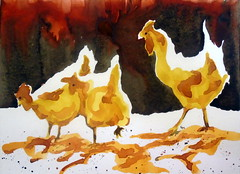 Three chickens, by Marcia. First watercolor made by her - DSC03098 (Dona Mincia) Tags: 3 bird art animal watercolor painting paper galinha arte inspired study ave tribute homage pintura homenagem releitura aquarela trs inspirado rereading patweaver relecture threechickens