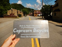 A Small Experiment in Sign Making (Capricorn Bicycles) Tags: street signs sign by town hand main small north marshall made carolina