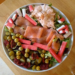 United colours of salad (gowersaint) Tags: britain england uk cumbria whitehaven copeland salad food meal fish crab lettuce supper colourful salmon prawns sause colour mixture round plate decorative olives tomatoes sundried herbs recipe gay bright cheerful healthy fun