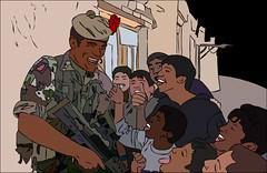 soldier and children