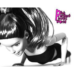 Four-Limbed Staff Pose aka Chaturanga Dandasana (pinkperfectplasticworld) Tags: djy08 barbie pink perfect plastic world int jour day nikon doll dolls poupe poupes puppen bambole poppen bonecas dockor nuket dukker blue top fitness bambi made move mtm 2015 mueca muecas mattel 16 sport  teresa black white bw noir et blanc en blanco y negro schwarz und weis    bianco e nero zwart wit okumnyama nokumhlophe fourlimbed staff pose yoga postion chaturanga dandasana