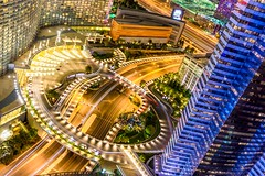 Las Vegas Hotel (Chi Lok) Tags: city blue light orange yellow night canon circle landscape photography lights cosmopolitan highway long exposure purple sigma trail freeway