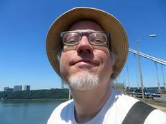 Father's Day Portrait (edenpictures) Tags: newyorkcity hat dad manhattan jim hudsonriver fathersday georgewashingtonbridge washingtonheights