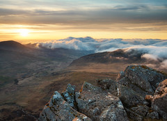Tryfan sunrise (Uldis K) Tags: uk mountain wales sunrise outdoors rocks lakedistrict snowdon snowdonia cloudscape tryfan glyders