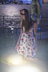 IMG_111_53_6 (ivett.krenkova) Tags: flowers light flower water fountain girl hippies night dark hair evening long hippie