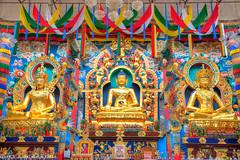 Golden Statues of Gautama Buddha, Padmasambhava and Amityus (Darshan Karia) Tags: india statue colorful buddha karnataka hdr goldentemple padmasambhava namdrolingmonastery amitbha sunkadahalli