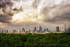 Stormclouds over London (singulartalent) Tags: battersea london uk cheesegrate clouds lodon londoneye panorama shard skyline threateningsky trees views england unitedkingdom gb