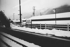 : Jro Station (Jon-F, themachine) Tags: winter blackandwhite bw snow monochrome japan asian asia olympus monochromatic gero  nippon japo grayscale oriental orient fareast  gifu   bnw nihon omd japn 2016  nocolor m43  mft   gifuken    geroonsen mirrorless   micro43 microfourthirds  ft xapn jonfu   mirrorlesscamera snapseed   em5ii em5markii