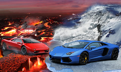 Rampage Elements (Nike_747) Tags: blue red 2 snow black hot cold ice car yellow fire volcano lava 1 frozen italian frost hell s super v madness elements hyper vulcan diablo snowslide lamborghini supercar sv v12 rampage avalanche 2013 snowslip  hypercar    aventador   naksphotographydsign