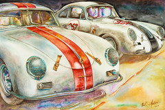 A Watercolor of Two Porsches by Frank DiMartino (dandimar) Tags: life art cars watercolor still automobile racing historic porsche