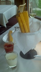 Polenta Fries with Roasted pepper dipping sauce and white truffle oil aioli (fightingscot) Tags: red food white pepper restaurant sauce michigan hill tabor fries buchanan oil truffle polenta roasted aioli winerery