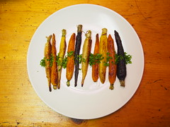 Homemade roasted rainbow spring carrots (wesleyrosenblum) Tags: food cooking dinner potatoes cook homemade chef meal lamb carrots shoulder cherrypeppers rainbowcarrots