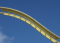 Yellow Curve (Tony Worrall Foto) Tags: park uk family vacation england people sun yellow metal kids children fun seaside holidays ride northwest candid north sunny bluesky fair visit tourist resort event sunlit excitement coaster funfair excite southport thrill southportpleasureland 2013tonyworrall southportfunfairpleasureland