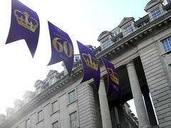 Celebrating queens 60 years coronation banners purple gold Regent Street London England 15th June 2013 15-06-2013 17-31-47 (dennoir) Tags: