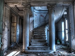 Old Caslte Stairs (Wil Kaza...Dambulations) Tags: old blue castle texture abandoned beauty stairs vintage hall decay bretagne grime chateau chteau nantes urbex escaliers beautyofdecay urbanarte