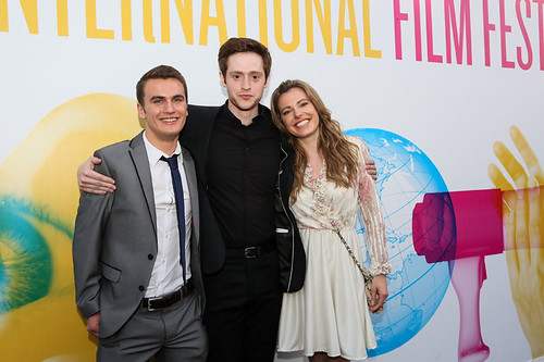 Patrick Wallace, Andrew Rothney and Scarlett Mack at the photocall for Blackbird outside the Filmhouse