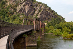 Bridge to Harpers Ferry (Rock Steady Images) Tags: camera bridge trees vacation sky cliff usa train canon river eos events places equipment westvirginia cameras 7d processing handheld harpersferry 50views lenses cartrip topaz 25views niksoftware bypaulchambers canonef2470mmf28iiusm lightroom4 photoshopcs6 rocksteadyimages