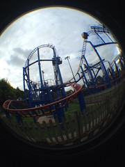 Sonic, Start Your Spinning (CoasterMadMatt) Tags: park fish eye lens photography photos towers sonic fisheye adventure attachment photographs land roller theme rides rollercoaster coaster staffordshire alton themepark altontowers coasters adventureland fisheyelens iphone moorlands staffs spinball 2013 sonicspinball coastermadmatt uploaded:by=flickrmobile flickriosapp:filter=nofilter