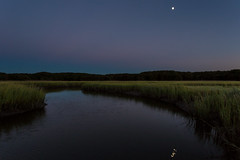Dusk at Cheesequake (Dalliance with Light (Andy Farmer)) Tags: moon nature water night newjersey unitedstates dusk marsh saltmarsh matawan cheesequake